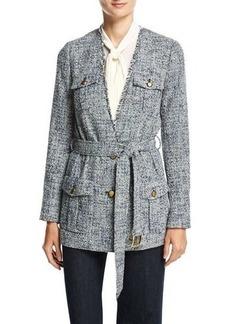 MICHAEL Michael Kors Collarless Tweed Wrap Jacket