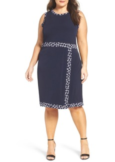 MICHAEL Michael Kors Contrast Border Jersey Faux Wrap Dress (Plus Size)