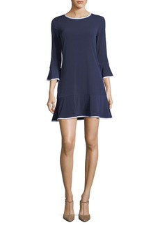 MICHAEL Michael Kors Contrast-Trim Solid Flounce Dress
