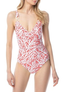 MICHAEL Michael Kors Coral Mosaic Chain Ring 1-Piece Swimsuit