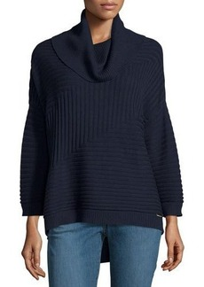 MICHAEL Michael Kors Cowl-Neck High-Low Ribbed Sweater