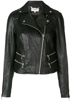 Michael Michael Kors crinkle-effect biker jacket - Black