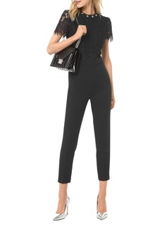 MICHAEL Michael Kors Cropped & Studded Lace-Bodice Jumpsuit