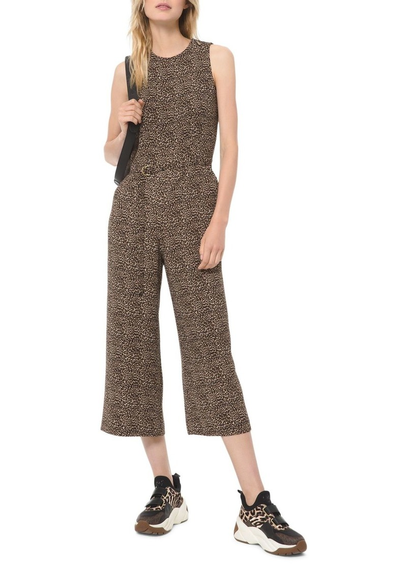 MICHAEL Michael Kors Cropped Belted Animal-Print Jumpsuit