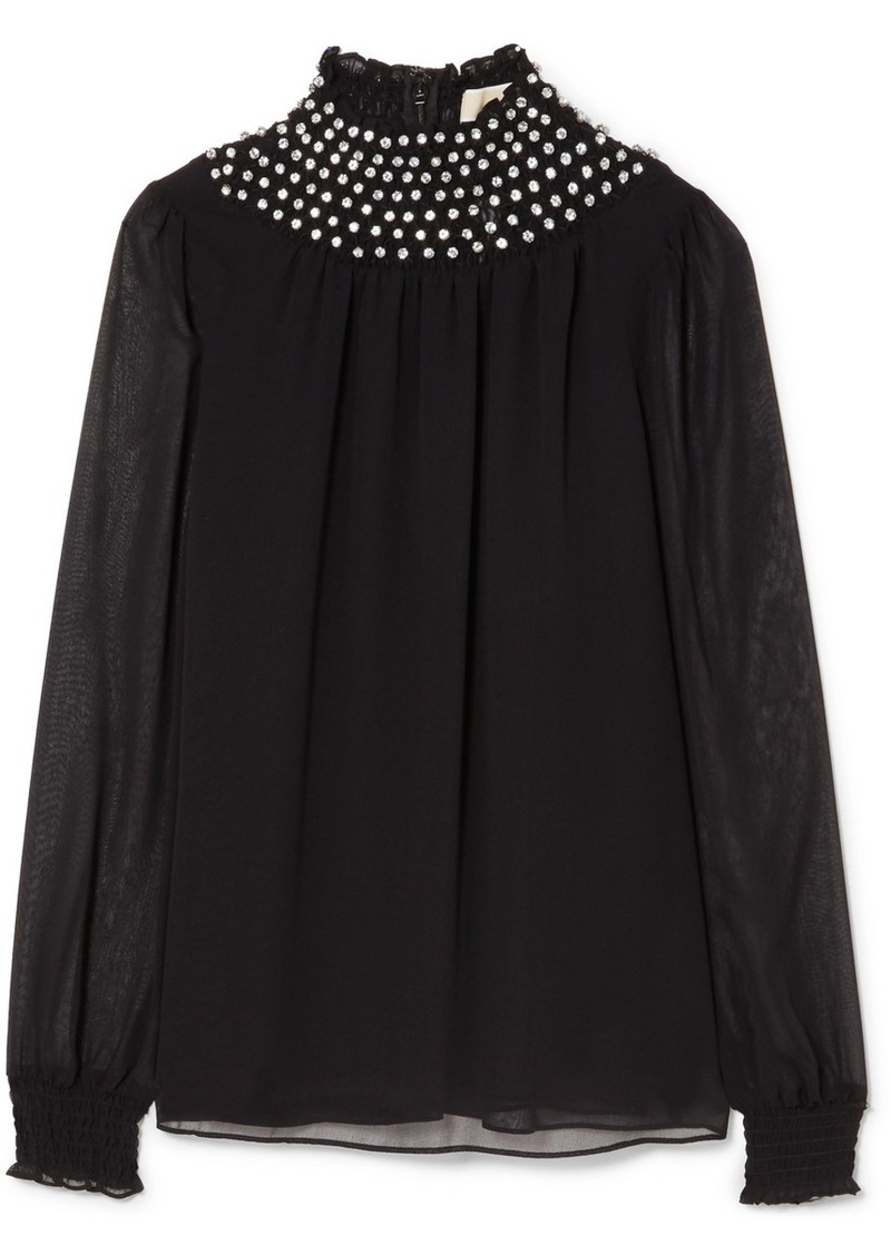 fc35e9bfbde63 MICHAEL Michael Kors Crystal-embellished chiffon blouse
