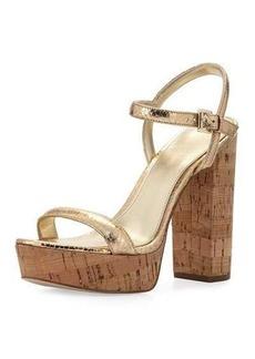 MICHAEL Michael Kors Dallas Metallic Cork Platform Sandal
