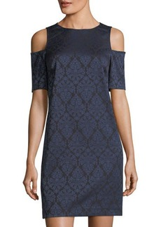 MICHAEL Michael Kors Damask Cold-Shoulder Sheath Dress