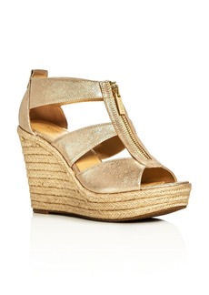 MICHAEL Michael Kors Damita Metallic Caged Espadrille Wedge Sandals
