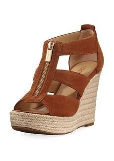 MICHAEL Michael Kors Damita Suede Cutout Wedge Sandal