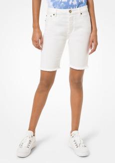 MICHAEL Michael Kors Denim Biker Shorts in White