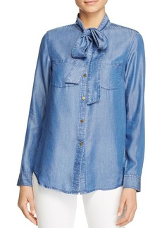 MICHAEL Michael Kors Denim Tie Neck Top