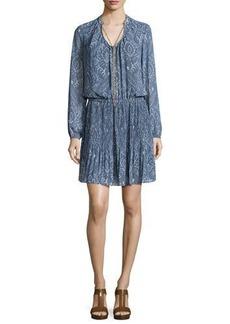 MICHAEL Michael Kors Devonshire Long-Sleeve Printed Plisse Dress