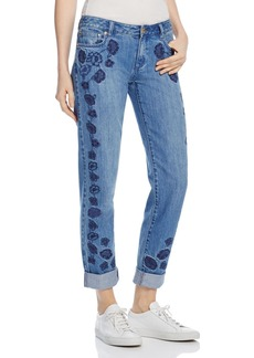 MICHAEL Michael Kors Dillon Floral Embroidered Boyfriend Jeans in Antique Wash - 100% Exclusive