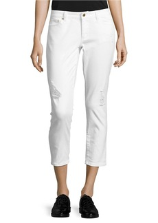MICHAEL MICHAEL KORS Distressed Cropped Jeans - White