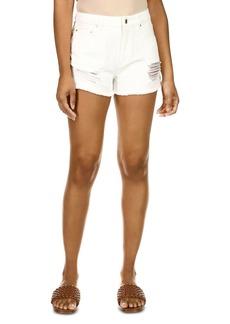 MICHAEL Michael Kors Distressed Cutoff Denim Shorts in White