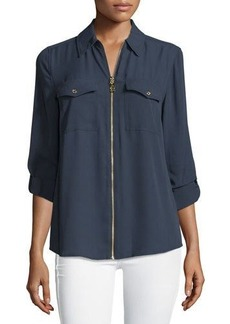 MICHAEL Michael Kors Dog Tag Zip-Front Blouse
