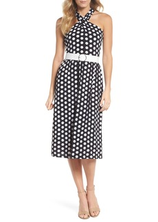 MICHAEL Michael Kors Dot Deluxe Halter Midi Dress