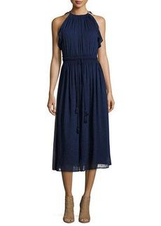 MICHAEL Michael Kors Dotted Chiffon Halter Tassel Dress