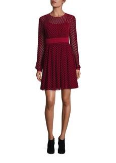 MICHAEL MICHAEL KORS Dotted Silk Blend A-Line Dress