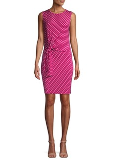 MICHAEL Michael Kors Dotted Tie Waist Sheath Dress