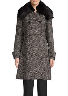MICHAEL Michael Kors Double Breasted Faux Fur Collar Jacket