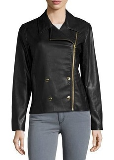 MICHAEL Michael Kors Double-Breasted Faux-Leather Moto Jacket