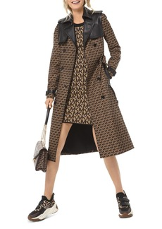 MICHAEL Michael Kors Double-Breasted Logo Jacquard Trench Coat