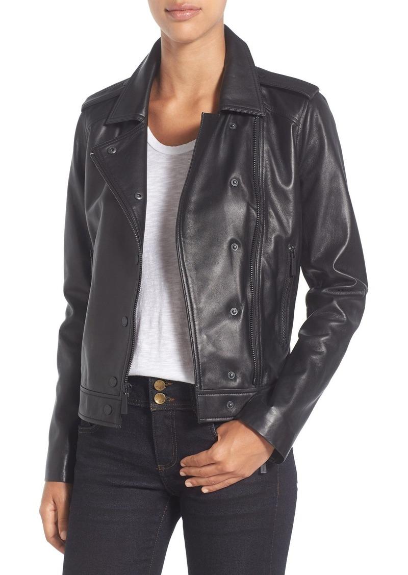 MICHAEL Michael Kors Double Lapel Leather Jacket