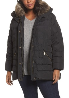 MICHAEL Michael Kors Down & Feather Hooded Coat with Faux Fur Trim (Plus Size)