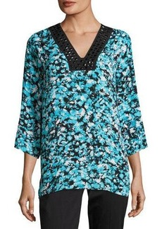 MICHAEL Michael Kors Embellished-Neck Printed Top