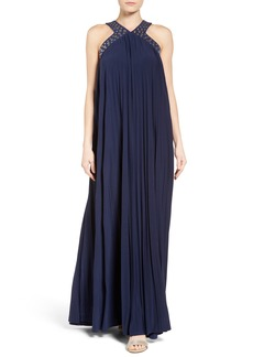 MICHAEL Michael Kors Embellished Pleat Maxi Dress