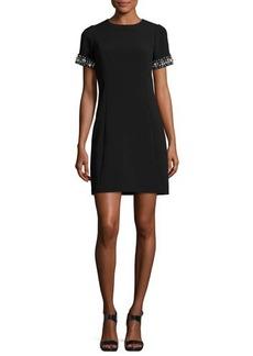 MICHAEL Michael Kors Embellished Short-Sleeve Crepe Dress