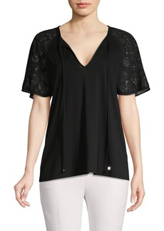 MICHAEL Michael Kors Embellished-Sleeve V-Neck Top