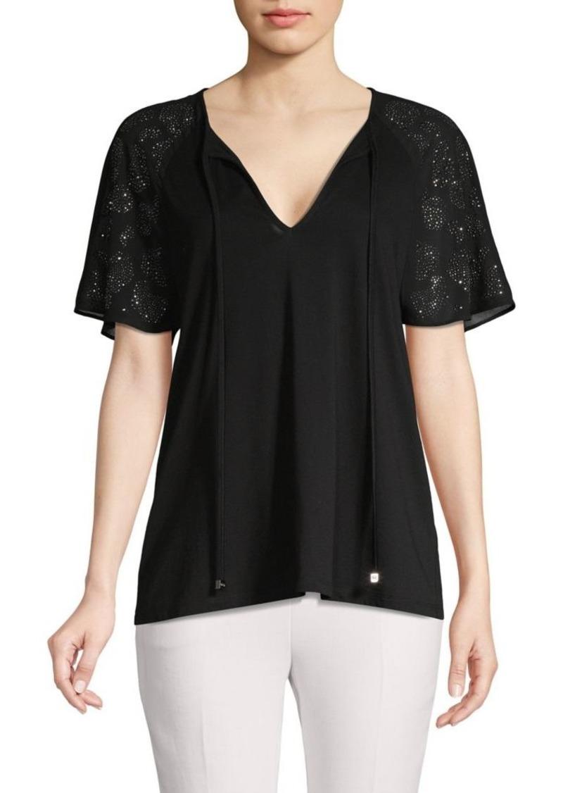 MICHAEL Michael Kors Embellished-Sleeve V-Neck Top