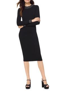 MICHAEL Michael Kors Embellished Stretch Ribbed Sweater Dress