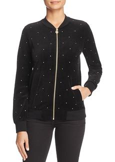 Michael Michael Kors Embellished Velvet Bomber Jacket