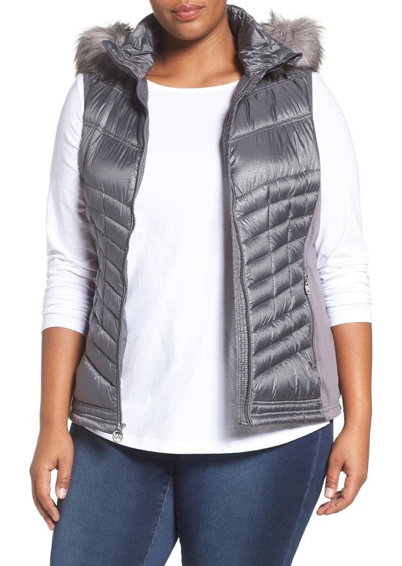 1a6f2614fa55c MICHAEL Michael Kors Embossed Mixed Media Down Vest with Detachable Faux  Fur Trim Hood (Plus