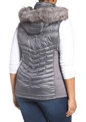 457c5acf70a ... MICHAEL Michael Kors Embossed Mixed Media Down Vest with Detachable Faux  Fur Trim Hood (Plus