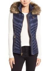 MICHAEL Michael Kors Embossed Mixed Media Down Vest with Detachable Faux Fur Trim Hood (Regular & Petite)