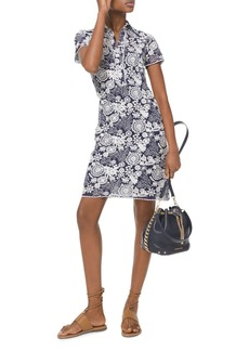 MICHAEL Michael Kors Embroidered Medallion & Floral Pattern Georgette Shirt Dress