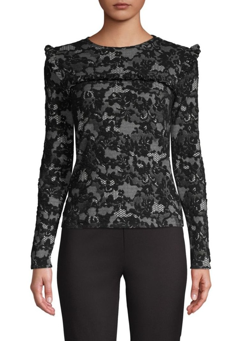 MICHAEL Michael Kors Embroidered Ruffle Lace Top