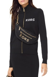 MICHAEL Michael Kors Embroidered Stretch Track Jacket