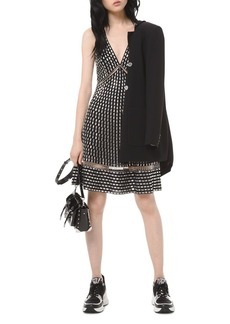 MICHAEL Michael Kors Embroidered Studded A-Line Dress
