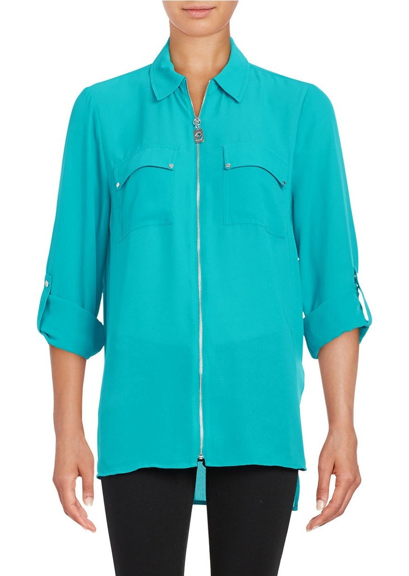 MICHAEL MICHAEL KORS Exposed Zipper Chiffon Hi-Lo Blouse