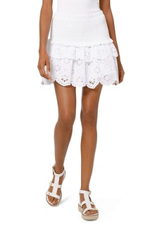MICHAEL Michael Kors Eyelet-Lace Smocked Skirt