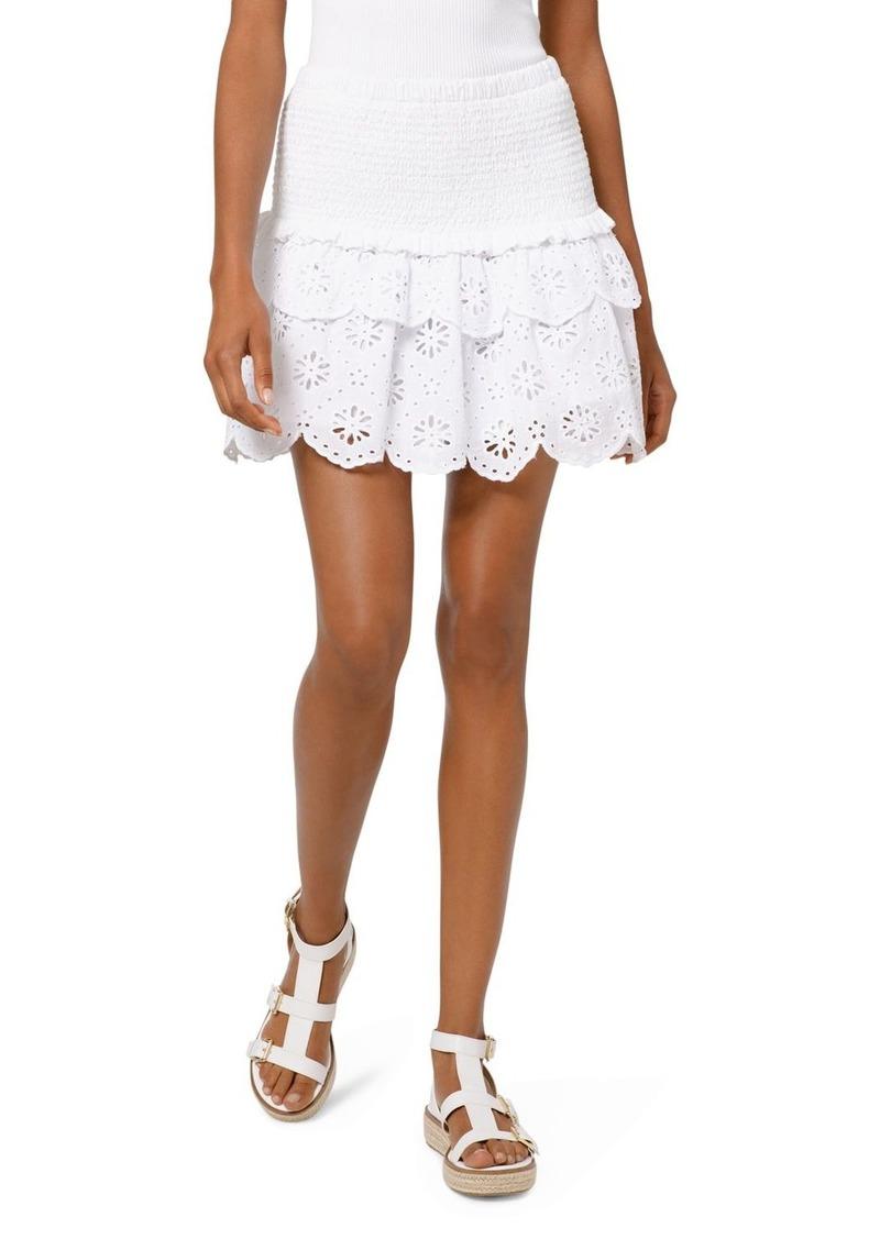 MICHAEL Michael Kors Eyelet-Lace Smocked Skirt
