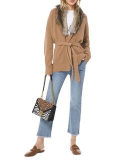 MICHAEL Michael Kors Faux Fur-Collar Cotton-Blend Cardigan