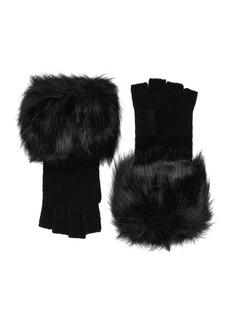 MICHAEL Michael Kors Faux-Fur Fingerless Knit Gloves