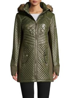 MICHAEL Michael Kors Faux Fur Hood Glossy Diamond Quilt Coat