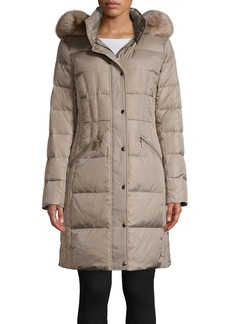 MICHAEL Michael Kors Faux Fur Hood Quilted Walker Coat